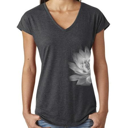 Ladies Lotus Flower V-neck Yoga Shirt - Dark Heather Grey, Small (side print)](Flower Toms)