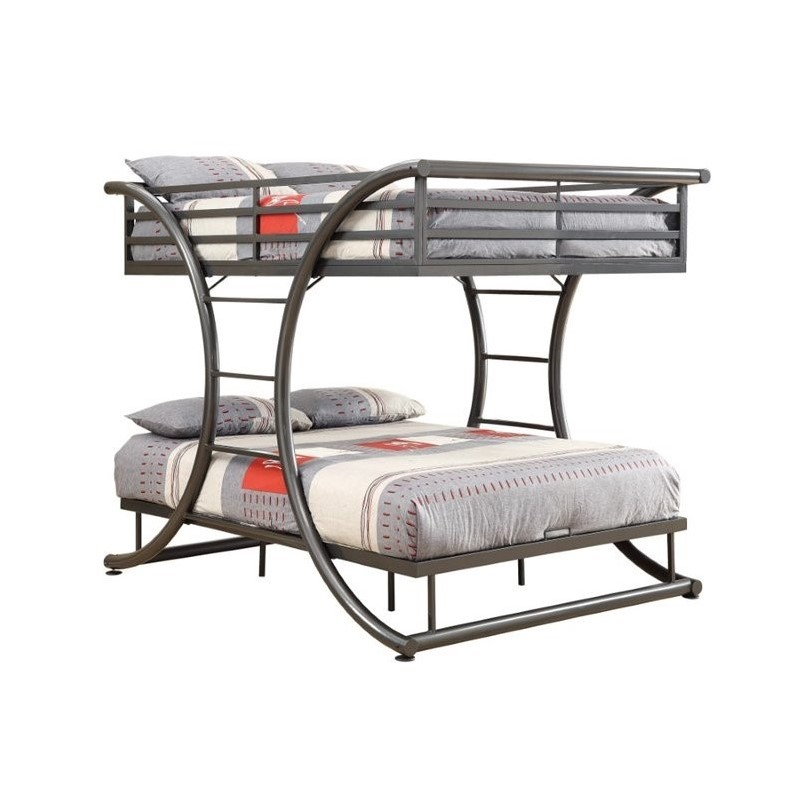 Bowery Hill Full over Full Bunk Bed in Gunmetal