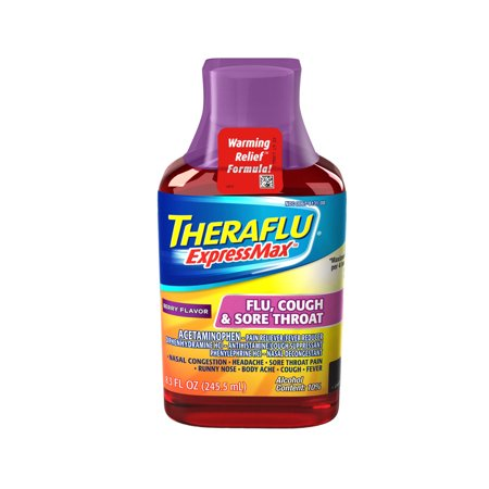 Cough Relief Syrup - Theraflu ExpressMax Flu Cough & Sore Throat Berry Warming Relief Formula Syrup for Cold & Flu Relief, 8.3 oz