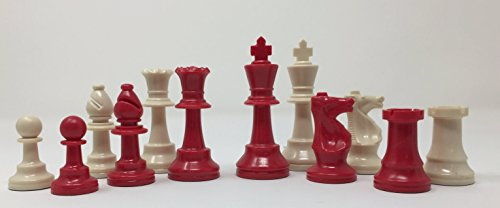 ChessCentral's Red Imperial Chess Set with Chess Pieces, Black Board, and Bag by Chess on DVD