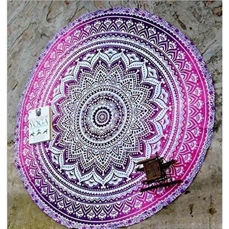 Popular Handicrafts Round Roundie Indian Mandala Round Roundie Beach Throw Picnic Tapestry Hippy Boho Gypsy Cotton Table Cover Beach Tapestry , Round 60inch