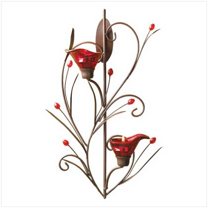 Home Locomotion Ruby Blossom Tealight Sconce