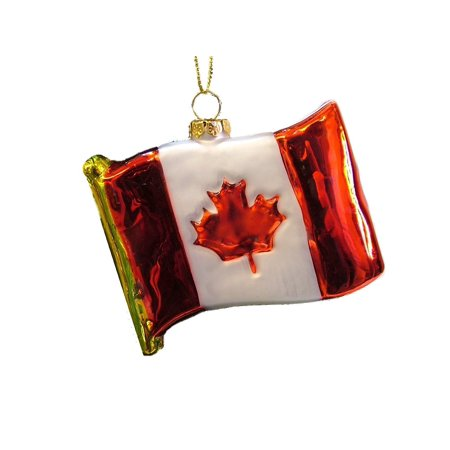 New Glass National Flag of Canada Red White Maple Leaf Christmas Tree Ornament By On Holiday Ship from US ()