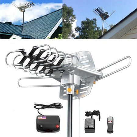 150 Miles Range HD TV Antenna Outdoor Amplified - Motorized 360째 Degree Rotation - Digital HDTV Antenna with Wireless Remote