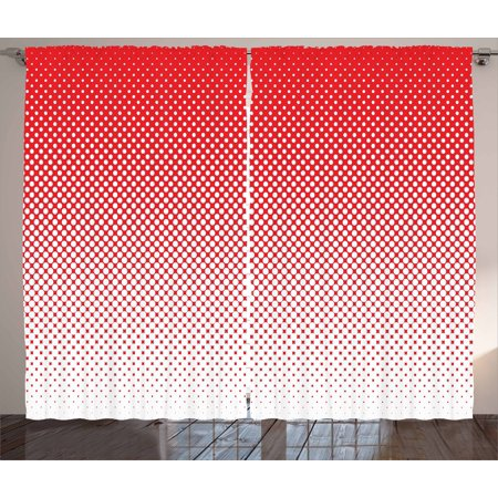 Red Curtains 2 Panels Set, Retro Style Pointillism Art Pattern with ...
