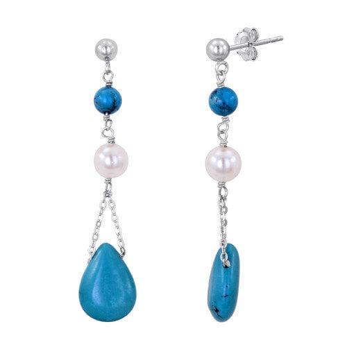 JewelExcess Natural Gemstone Dangle Drop Earrings