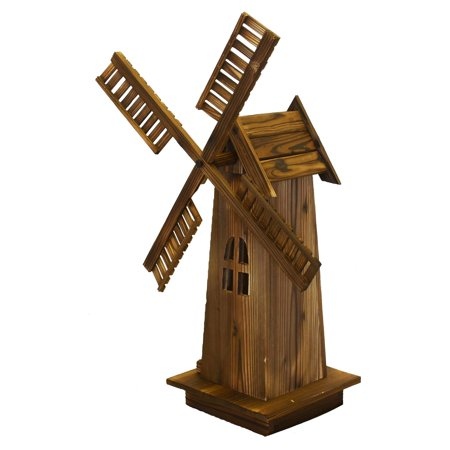 HGC Wooden Dutch Windmill Garden Statue