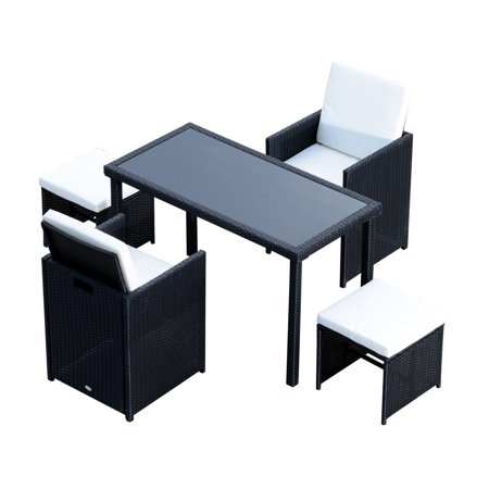 GHP 5-Pcs Black PE Wicker Cushioned Patio Garden Ottomans & Table Furniture Set