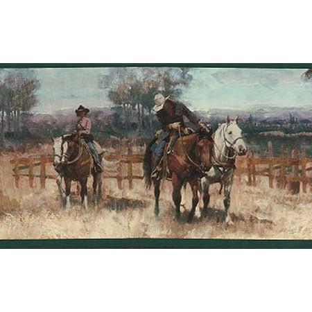 878572 Western Cowboy Horse Wallpaper Border