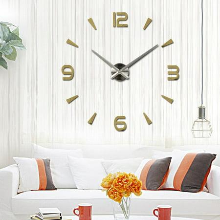 Modern Large 3D Mirror Surface Wall Clock Sticker Home Office Room DIY Decor Gold](Gold Room Decor)