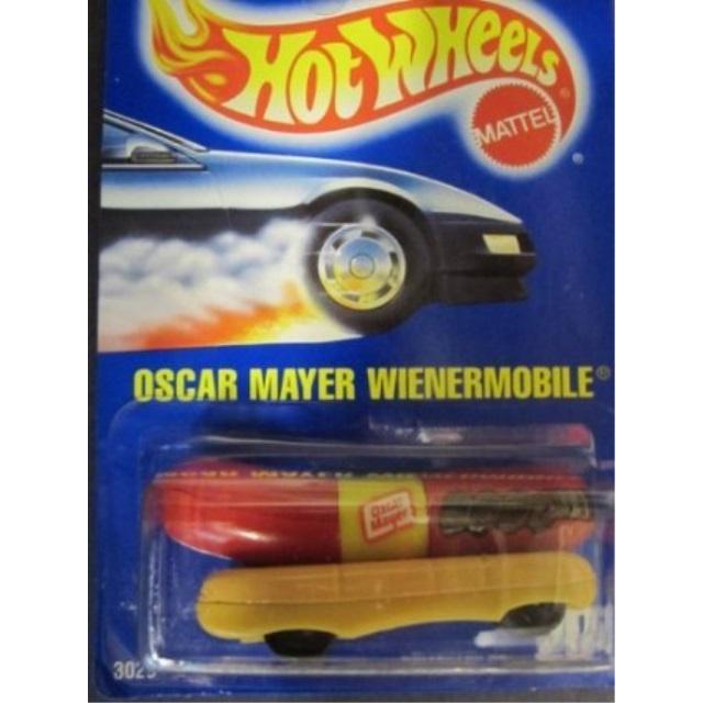 1991 Dubblebla Wienermobile Solid Blue Card by Hotwheels #204 Oscar Mayer