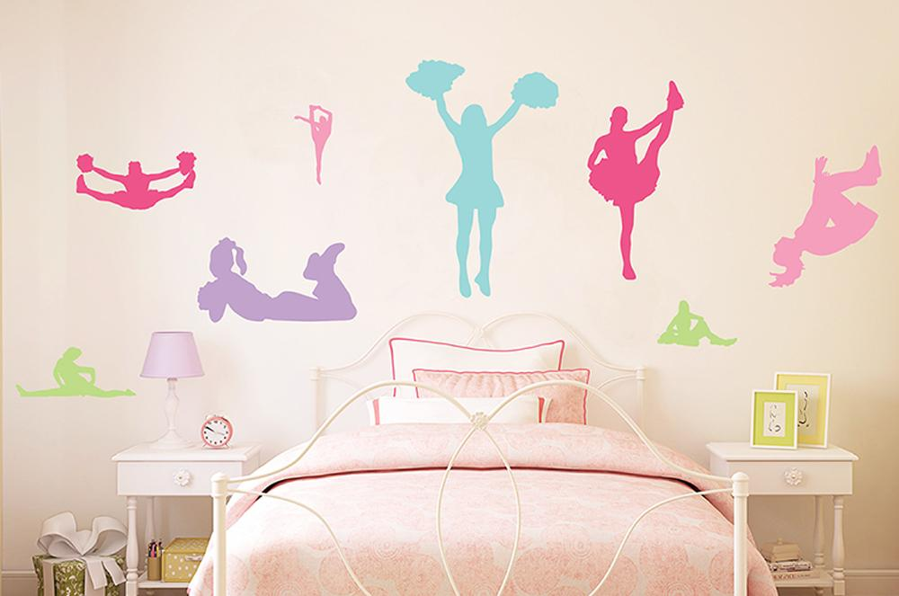Colorful Cheerleader Silhouettes Wall Decal Sticker Set By