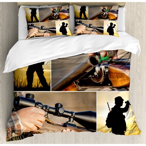 Ambesonne Hunting Themed Photos Loading Rifle Binoculars Outdoors Activity Duvet Cover Set