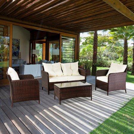 Ktaxon 4PCS Patio Rattan Conversation Furniture Set Cushioned Seat Coffee Table / Brown Black Gray Optional