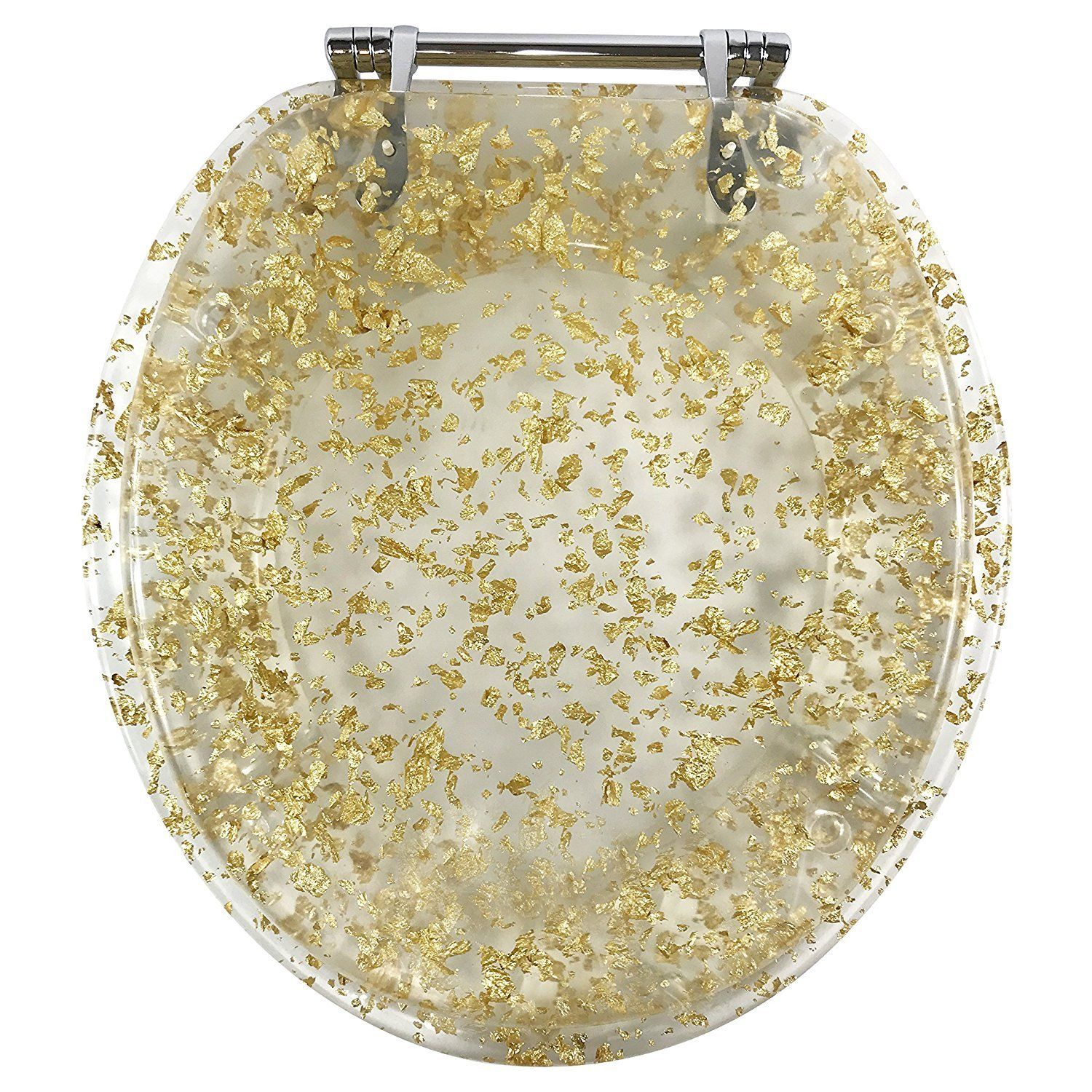 GOLD FOIL RESIN ACRYLIC TOILET SEAT, STANDARD ROUND WITH CHROME HINGES
