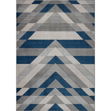 Beautiful Super Soft Modern Indoor Vincenza Collection Doormat Carpet for Bedroom Living Room Dining Room in Grey-Blue, 1