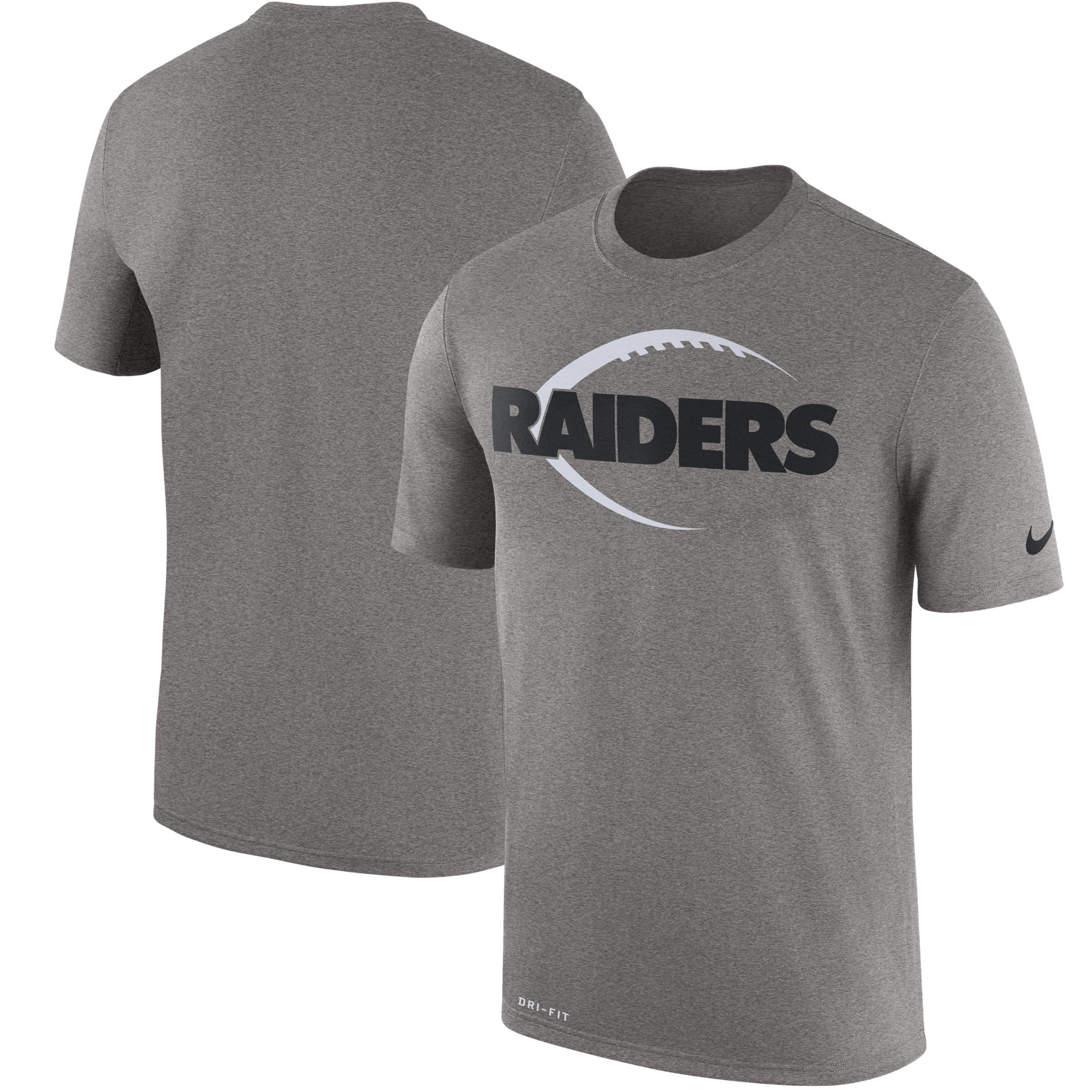 Men's Nike Heather Gray Oakland Raiders Legend Icon Logo Performance T-Shirt