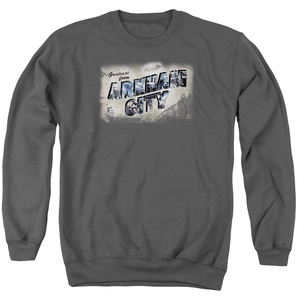 ARKHAM CITY/GREETINGS FROM ARKHAM - ADULT CREWNECK SWEATSHIRT - CHARCOAL - MD