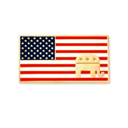 Patriotic Elephant - PinMart's American Flag Republican Elephant Patriotic Enamel Lapel Pin