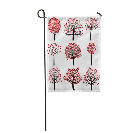 LADDKE Abstract Valentine Day Tree Silhouettes Heart Shaped Leaves Botanical Garden Flag Decorative Flag House Banner 12x18