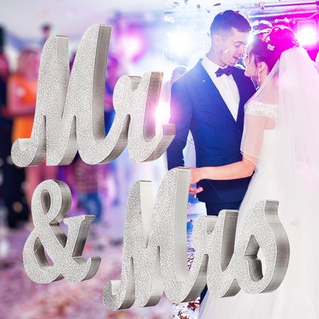 - Large Wooden Mr & Mrs Silver Shining Standing Letters Sign Wedding Home Decor