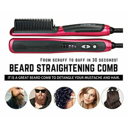 Beard Straighteners CombElectric curly hair brush wet and dry anti-scaling ceramic ion hair brush for all hair