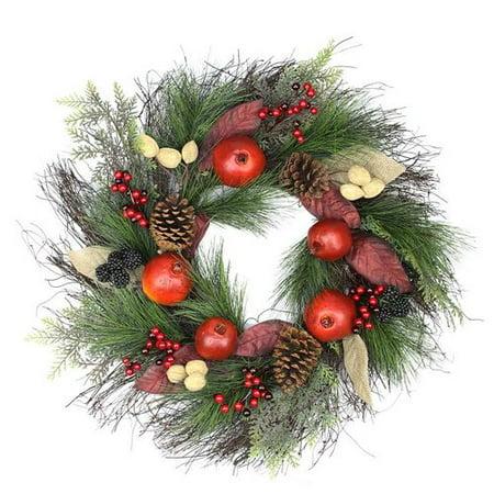 Northlight Seasonal 24'' Autumn Harvest Mixed Pine Berry and Nut Thanksgiving Fall Wreath](Autumn Fall)