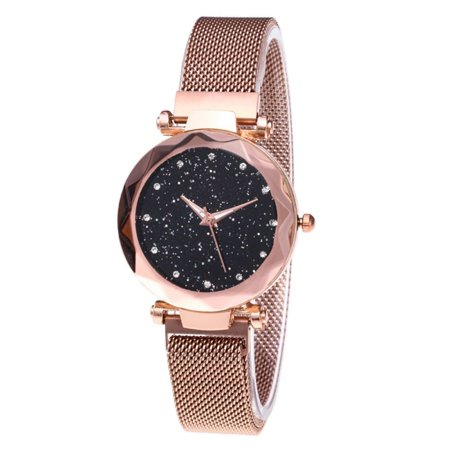 Women's Watch Fashion Prismatic Glass Scale Starry Sky Stainless Steel Bracelet Mesh Band Quartz Wrist Watch