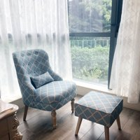 Elegant Upholstered Fabric Club Chair Accent Chair W/ Ottoman Living Room Set Blue