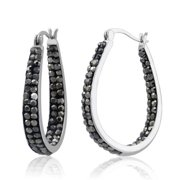 Beverly Hills Silver Rhodium-plated Jet Black Crystal In and Out Hoop Earrings