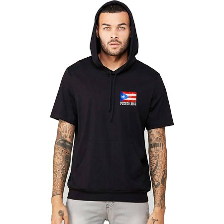 Men's Puerto Rico Flag Chest Black Short Sleeve Hoodie T-Shirt 2X-Large Black ()