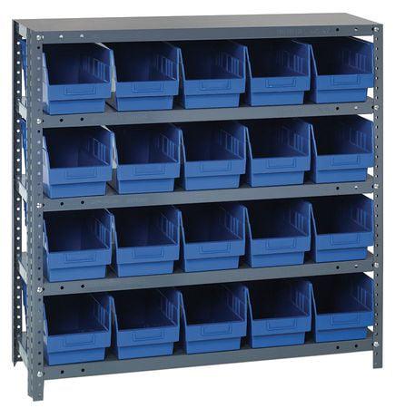 Bin Shelving, Solid, 36X12, 20 Bins, Blue QUANTUM STORAGE SYSTEMS 1239-202BL
