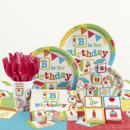 The Party Aisle 81 Piece ABC Blocks Birthday Party Supplies - Abc Party Ideas For Guys