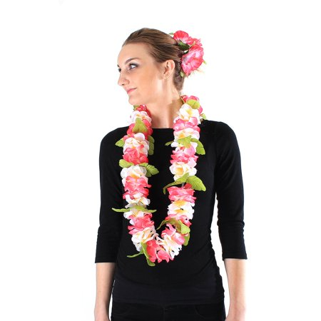 Hawaii Luau Party Artificial Fabric Royal Lei and Double Large Hibiscus Hair Clip Set Pink White Edge (Hibiscus Hair Clip)