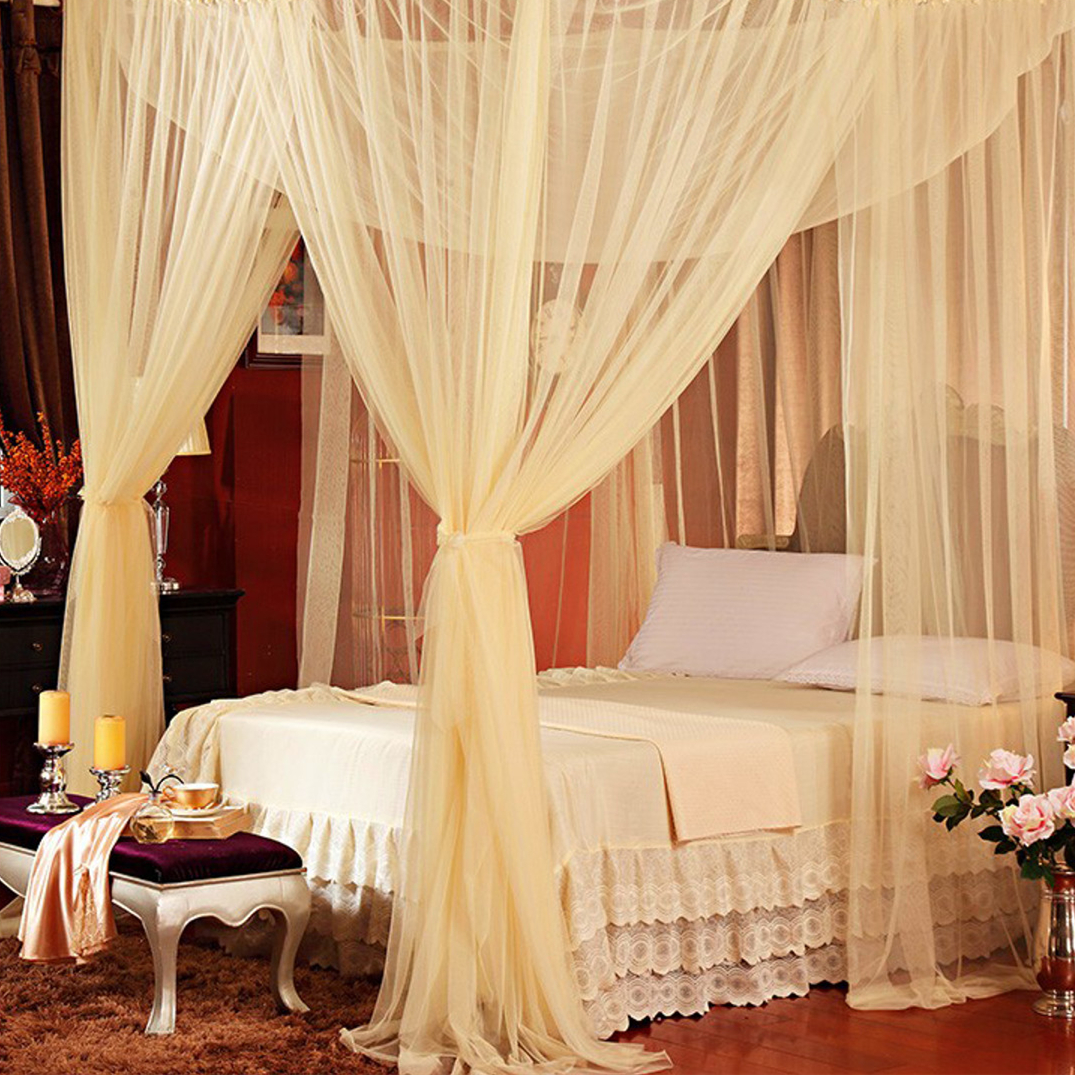 Four-doors Elegant Lace Mosquito Net Dome Canopy Bed Netting Curtain Home Decor White/Black/Beige/Purple