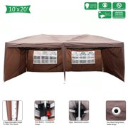Easy Set up Canopy Tent Clearance, 10' x 20' Waterproof UV Coated Shade Shelter Wedding Tent w/4 Removable Sidewalls, Folding Outdoor Gazebo w/Carry Bag for Garden Beach Pool BBQ, Dark Coffee, S11207