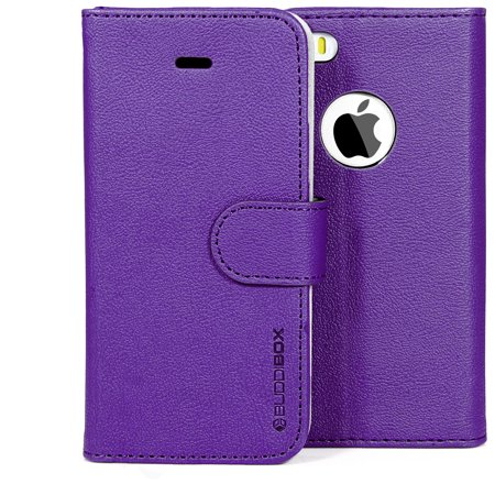 BUDDIBOX iPhone 5S / 5 Plus Case Premium PU Durable Leather Wallet Folio Protective Cover Case for Apple iPhone 5 / (Best Protective Cover For Iphone 5s)