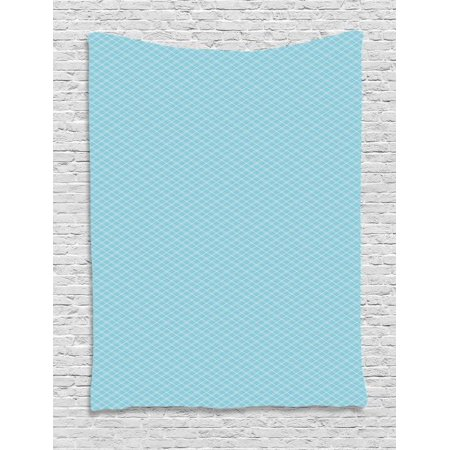 Vintage Blue Tapestry, Classical Argyle Pattern Striped Checkered Traditional Old Fashioned, Wall Hanging for Bedroom Living Room Dorm Decor, 40W X 60L Inches, Baby Blue and White, by Ambesonne