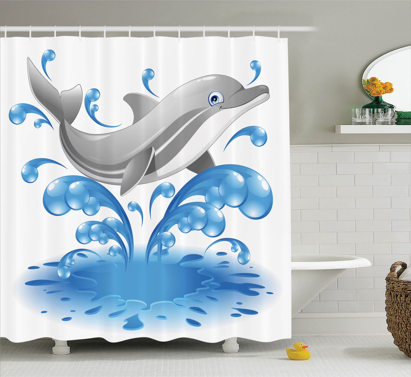Jumping Dolphin Water Splash Children Cartoon Aquatic Image Shower Curtain Set