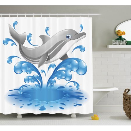 Sea Animals Decor Shower Curtain Set Jumping Dolphin
