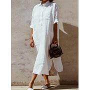 Women Long Sleeve Button Up Shirt Dress Kaftan Loose Baggy