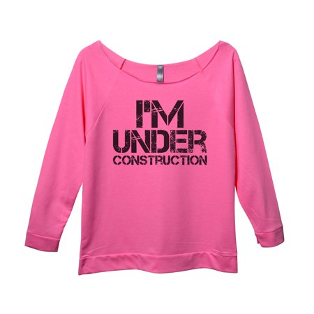 "Workout Fitness Shirt Off Shoulder Raglan ""Im Under Construction"" Funny Threadz Large,"