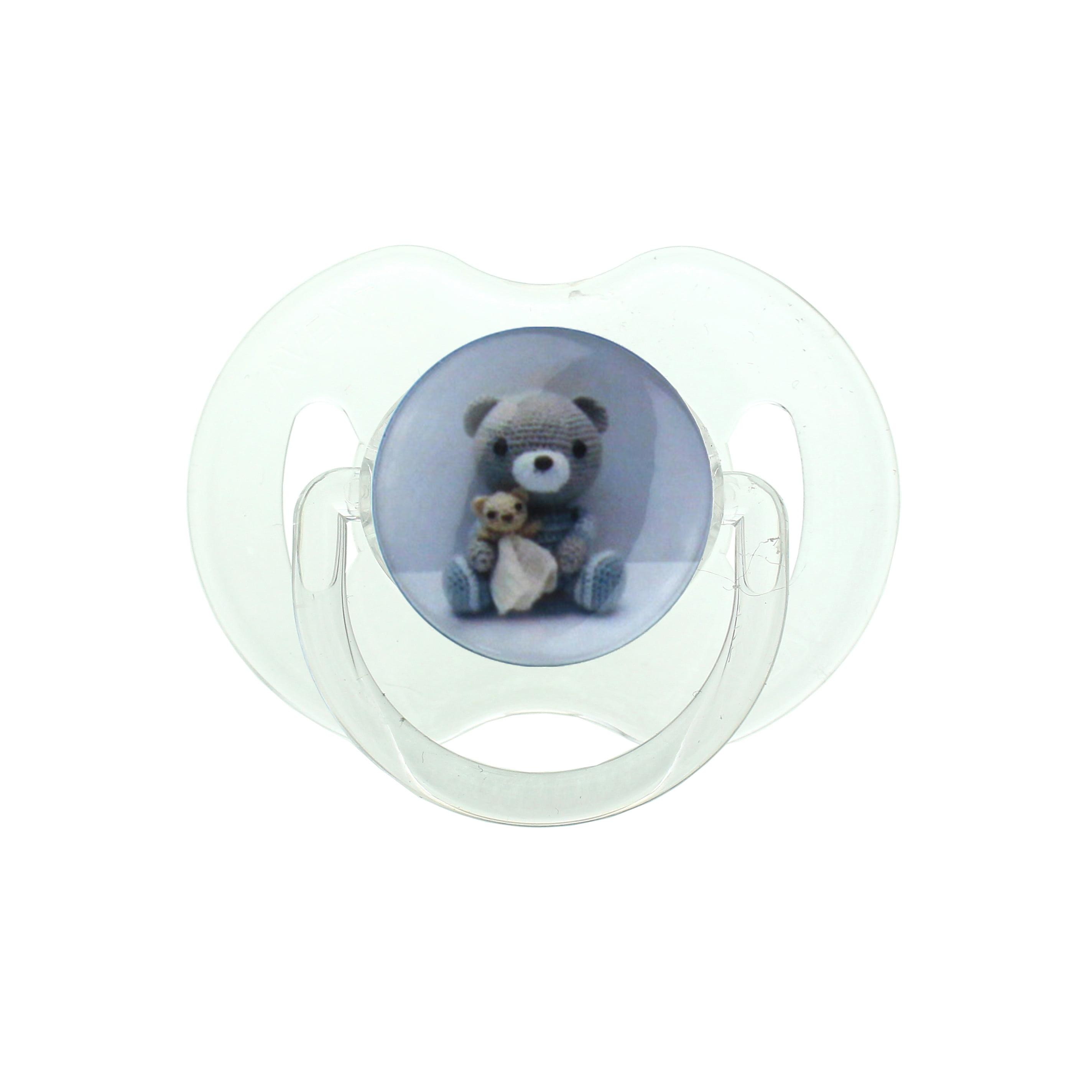 Grey Teddy Bear Pacifier by Crystal Dream