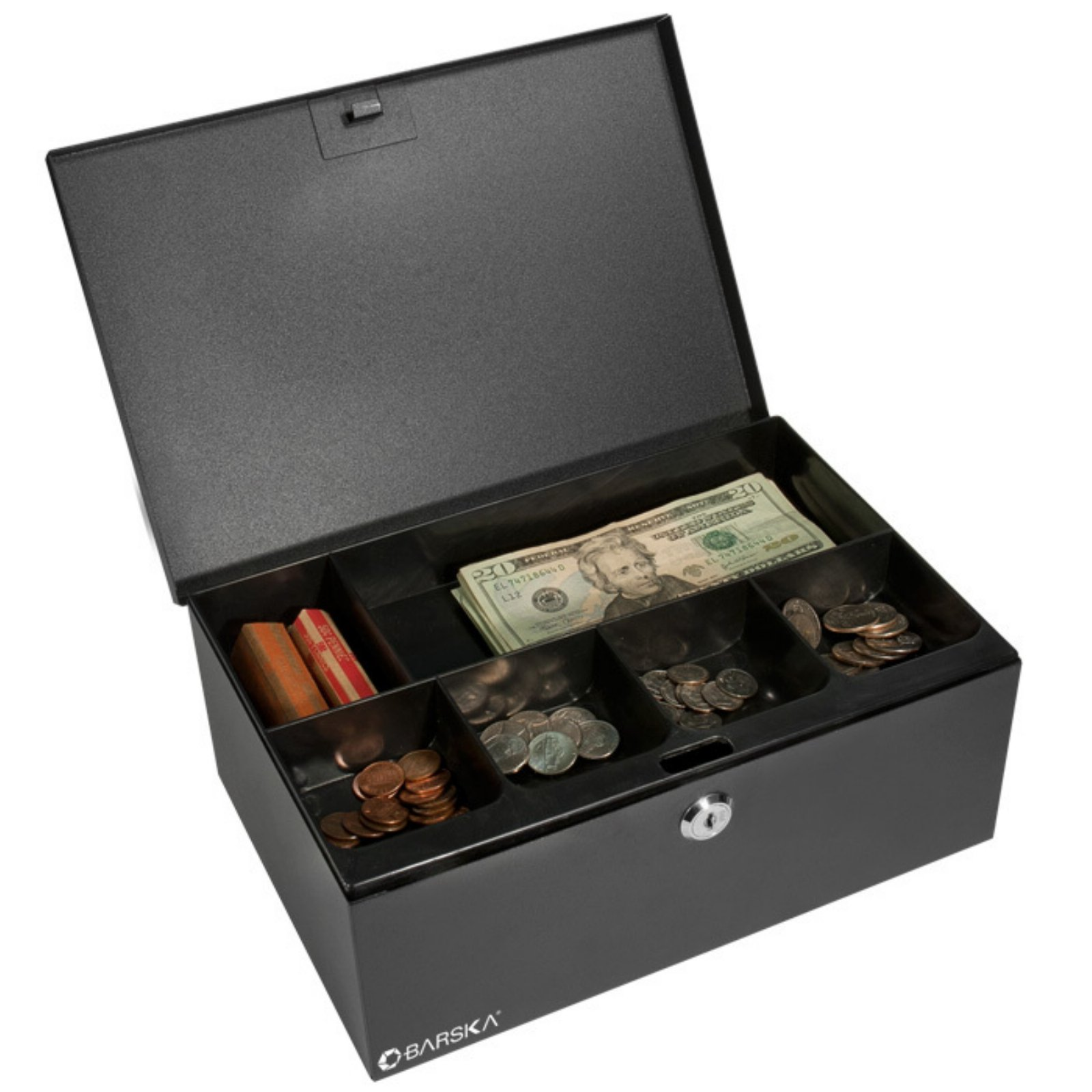 Barska 17 inch Cash Box and Six Compartment Tray with Key Lock by Barska