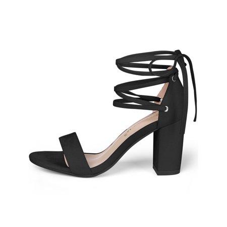 Women Open Toe Chunky Heel Lace Up Dress Sandals Black US 6.5 - image 1 de 7