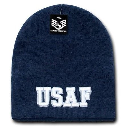 United States U.S. Air Force USAF Embroidered Military Beanie Skull Knit Cap (Skull Embroidered Hat)