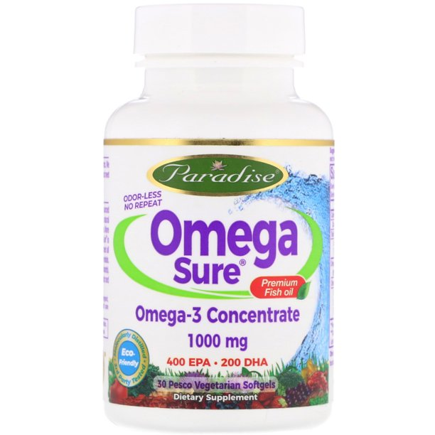 Paradise Herbs  Omega Sure  Omega-3 Premium Fish Oil  1 000 mg  30 Pesco Vegetarian Softgels