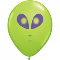"5"" Round Alien Balloons - Green (100/bag)"