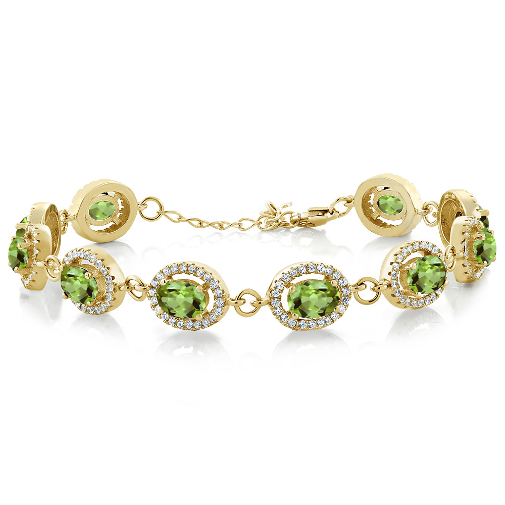 10.88 Ct Oval Green Peridot 18K Yellow Gold Plated Silver Bracelet by
