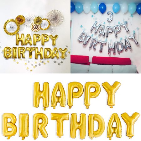 Gold Silver Happy Birthday Foil Balloons, 16'' Happy Birthday Banner Letters Balloons for Birthday Party Decoration Gifts, - Party City Happy Birthday Balloons